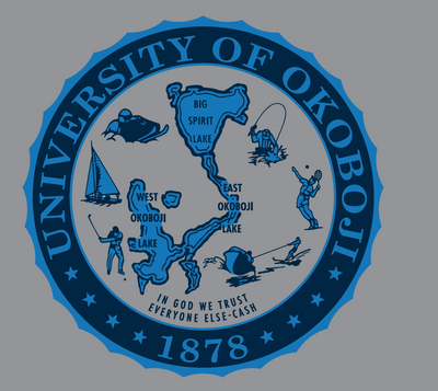 Women's Campus Crew - Heather Grey Varsity Crew With Okoboji Crest