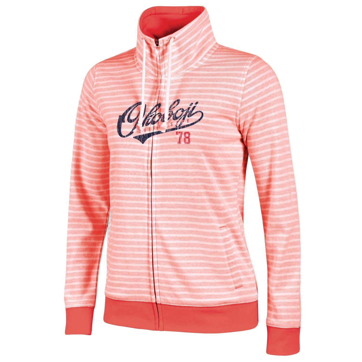 Ladies Okoboji U Resort Full Zip - Coral Bloom / White Stripe