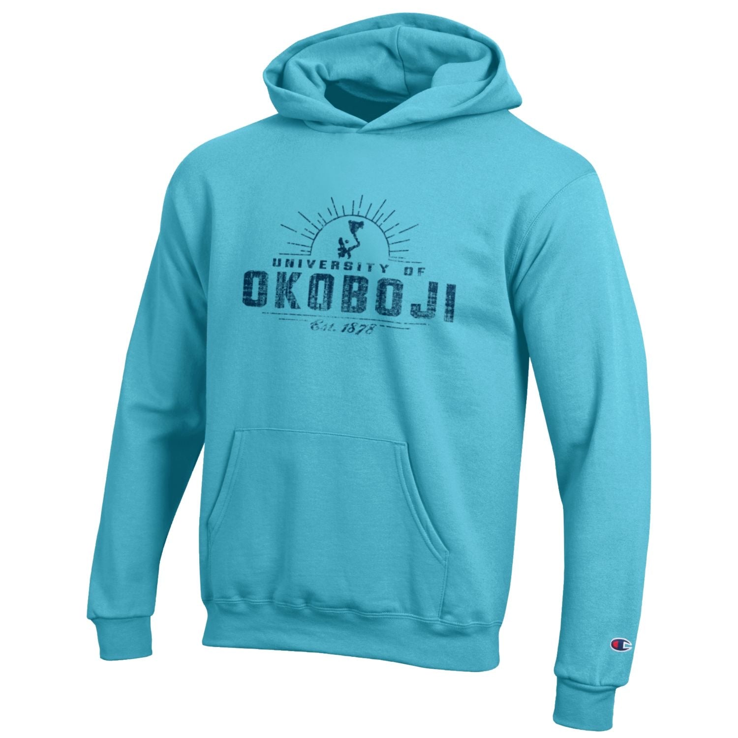 Kids University of Okoboji Campus Sun Hooded Sweatshirt- Aqua