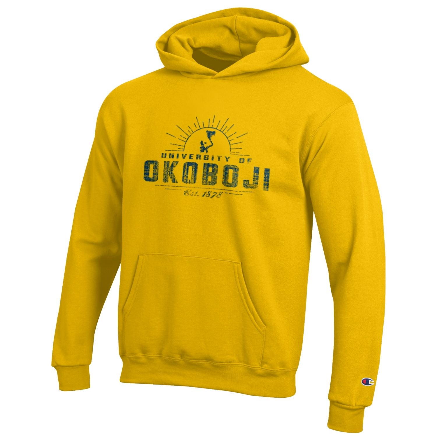 Kids University of Okoboji Campus Sun Hooded Sweatshirt- Yellow Gold