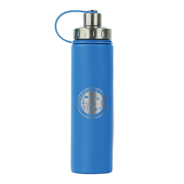 THE BOULDER - UNIVERSITY OF OKOBOJI - INSULATED WATER BOTTLE W/ STRAINER - 20 0Z - Hudson Blue