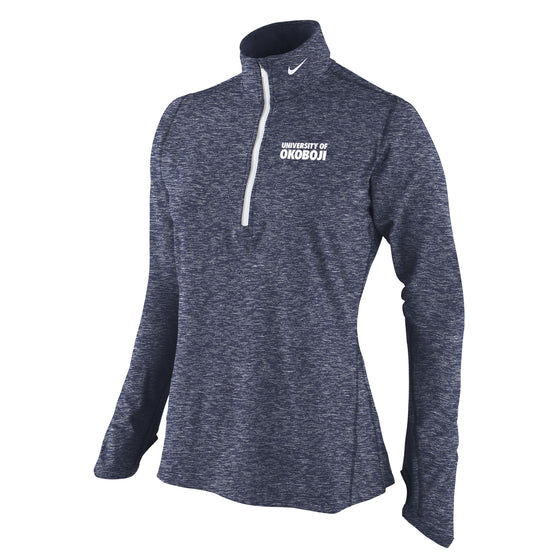 Ladies Heather Element 1/4 Zip Top - Heathered Navy Okoboji
