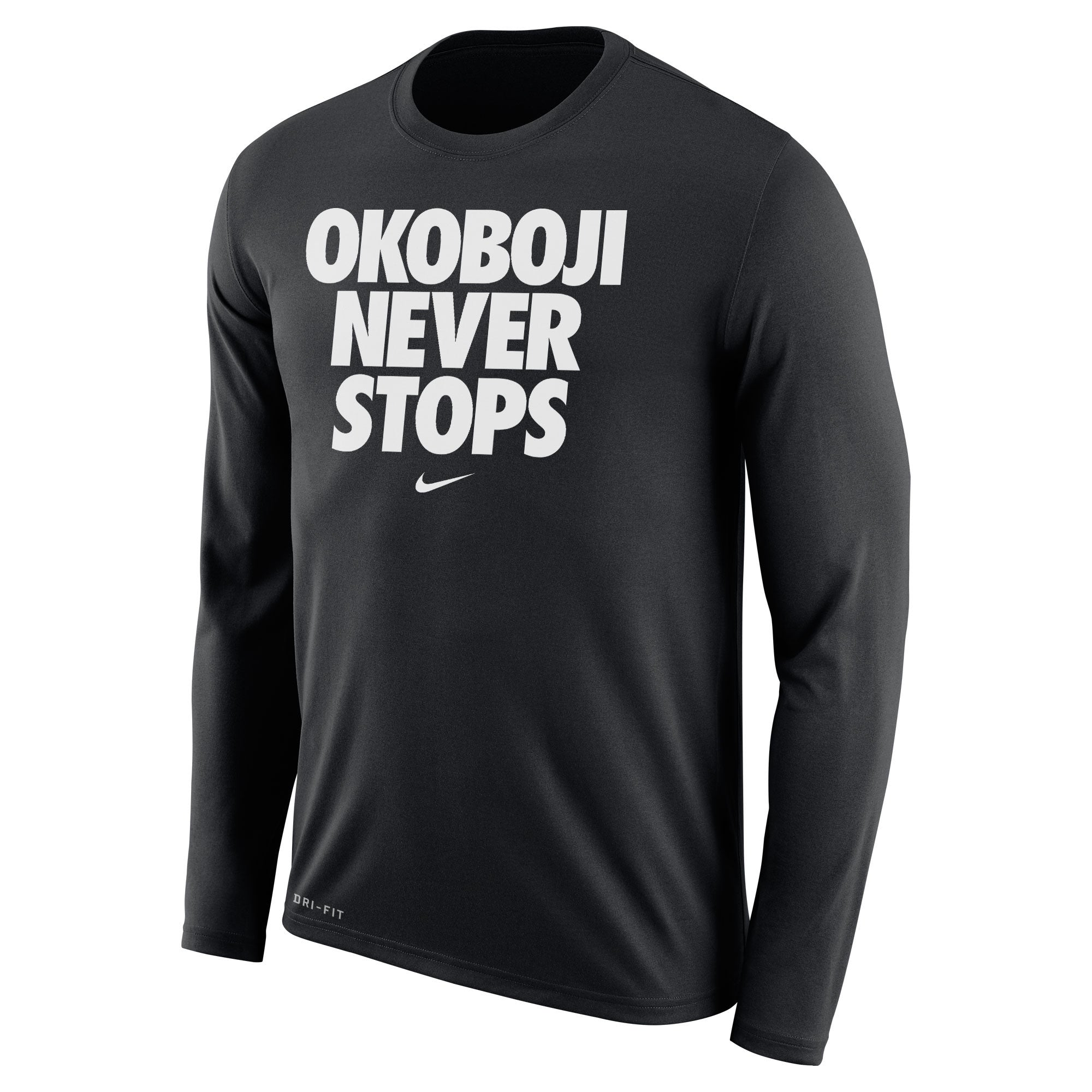OKOBOJI NEVER STOPS Long-sleeved Tee (Black)