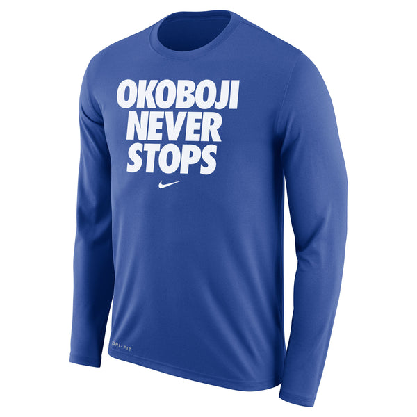 OKOBOJI NEVER STOPS Long-sleeved Tee (Royal)