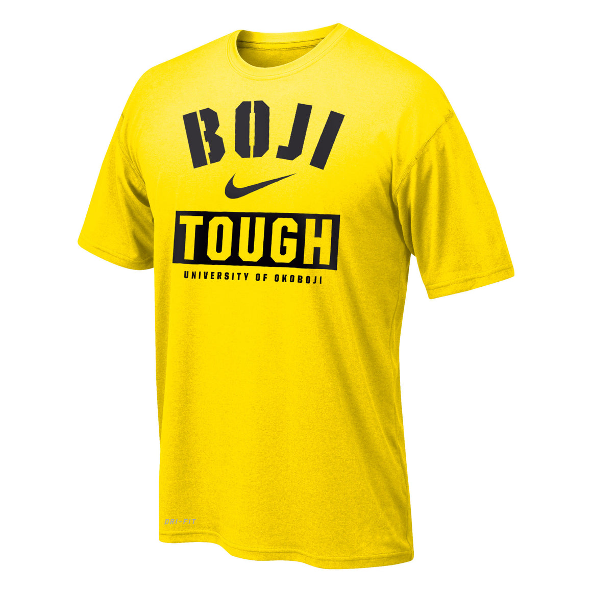 "Boy's Dri-FIT Legend 2.0 Short Sleeve Tee ""BOJI TOUGH"" - Yellow"