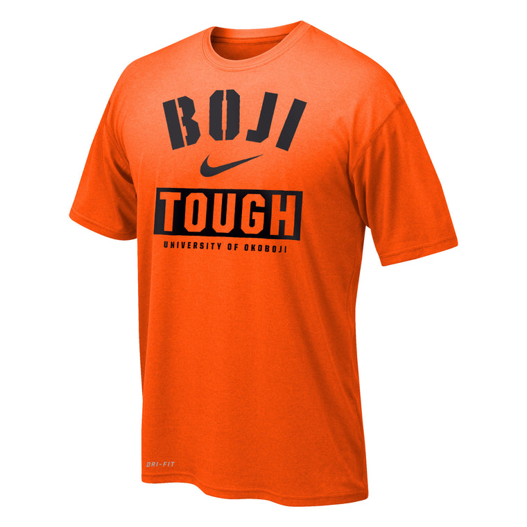 "Boy's Dri-FIT Legend 2.0 Short Sleeve Tee ""BOJI TOUGH"" - Orange"