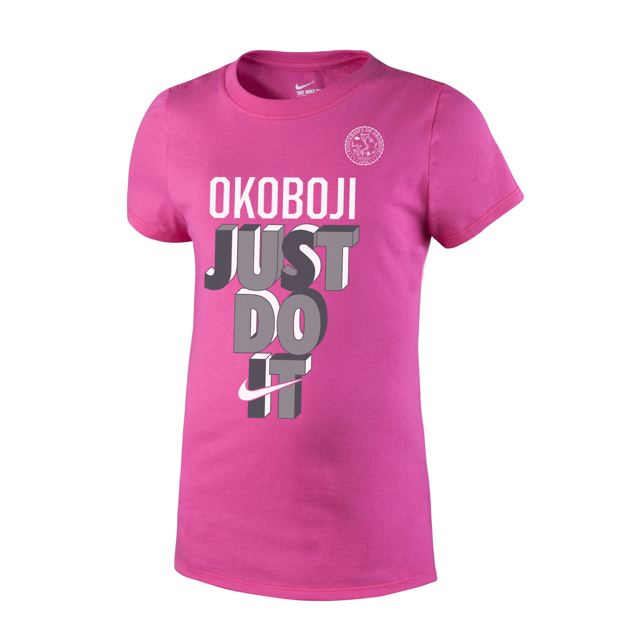 "Girl's NIKE ""Just Do It"" Short Sleeve Tee - Pink"