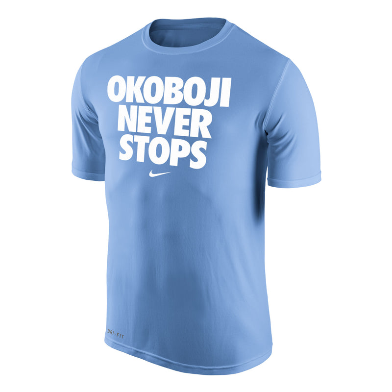 Okoboji Never Stops Dri-Fit Legend 2.0 Short Sleeve Tee - Valor Blue