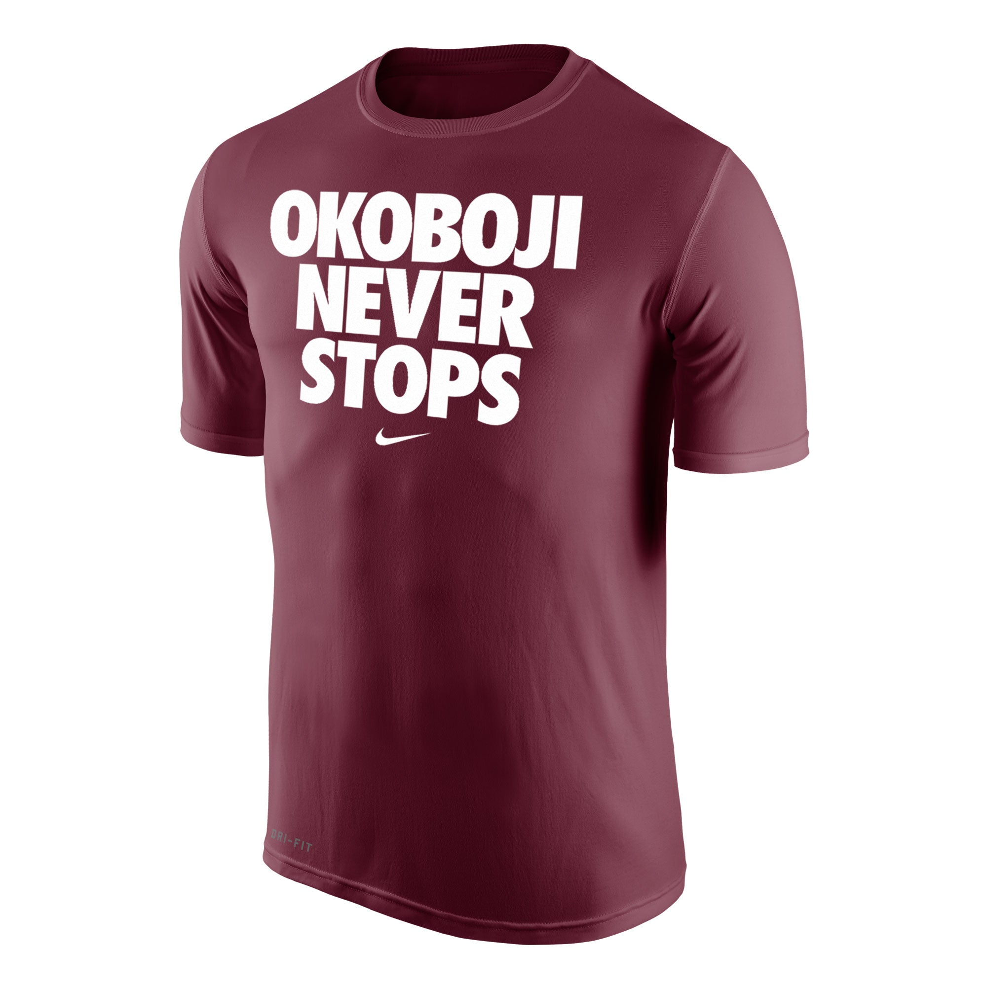 Okoboji Never Stops Dri-Fit Legend 2.0 Short Sleeve Tee - Maroon