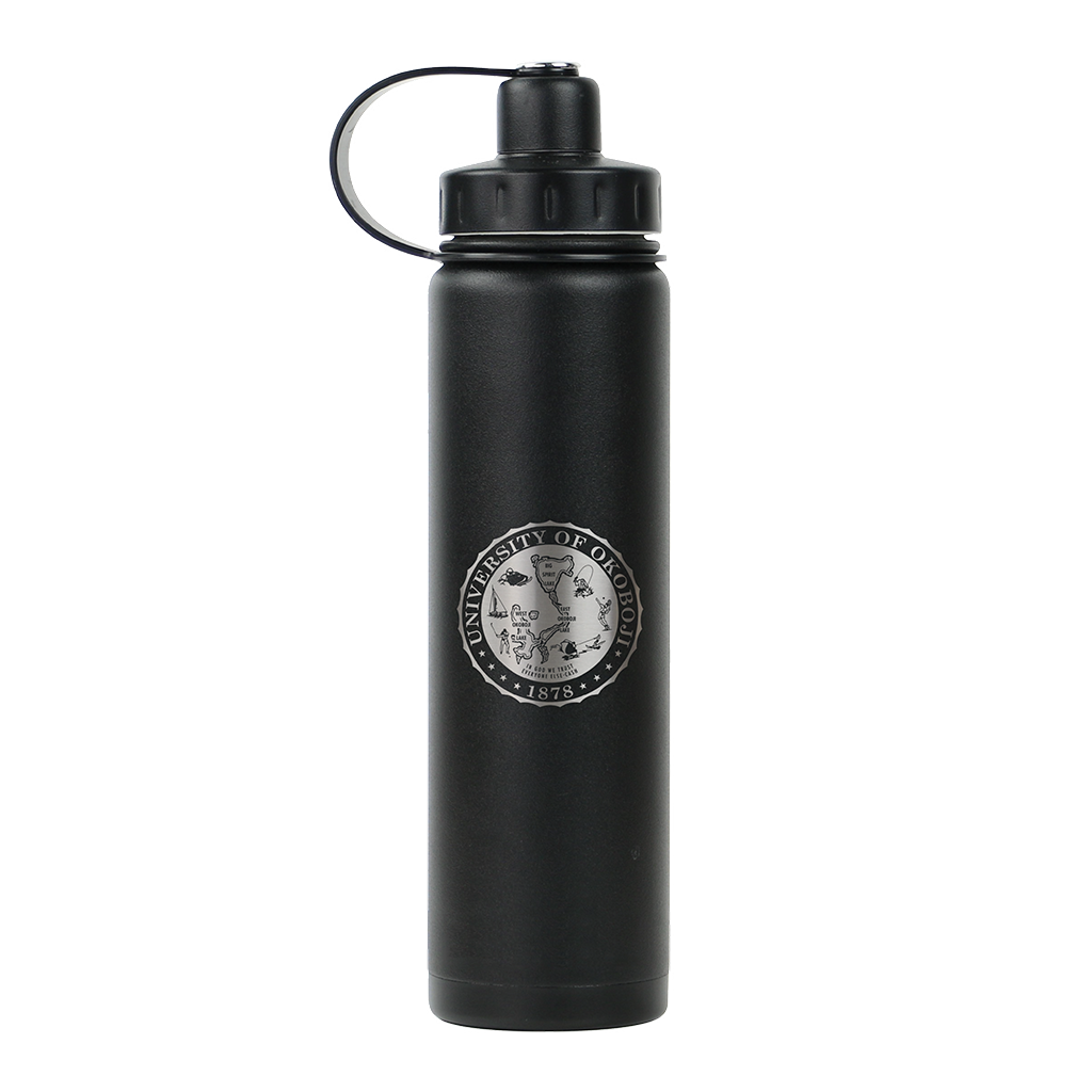 THE BOULDER - UNIVERSITY OF OKOBOJI - INSULATED WATER BOTTLE W/ STRAINER - 20 0Z - Black Shadow