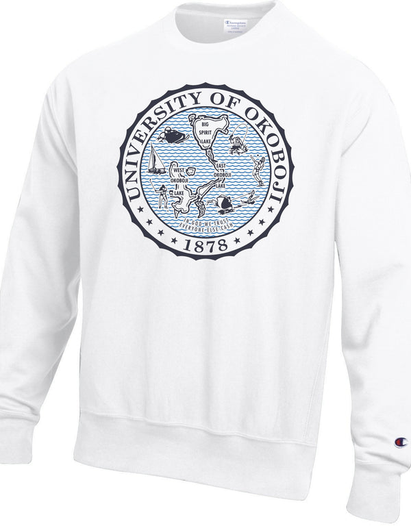 The Champion Okoboji Reverse Weave Crest Crew - White