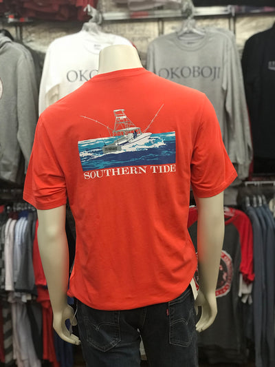 "U of O Southern Tide ""The Skipjack"" Short Sleeve Shirt in Coral"