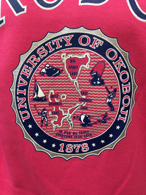 Classic University of Okoboji Pink Crewneck Sweatshirt