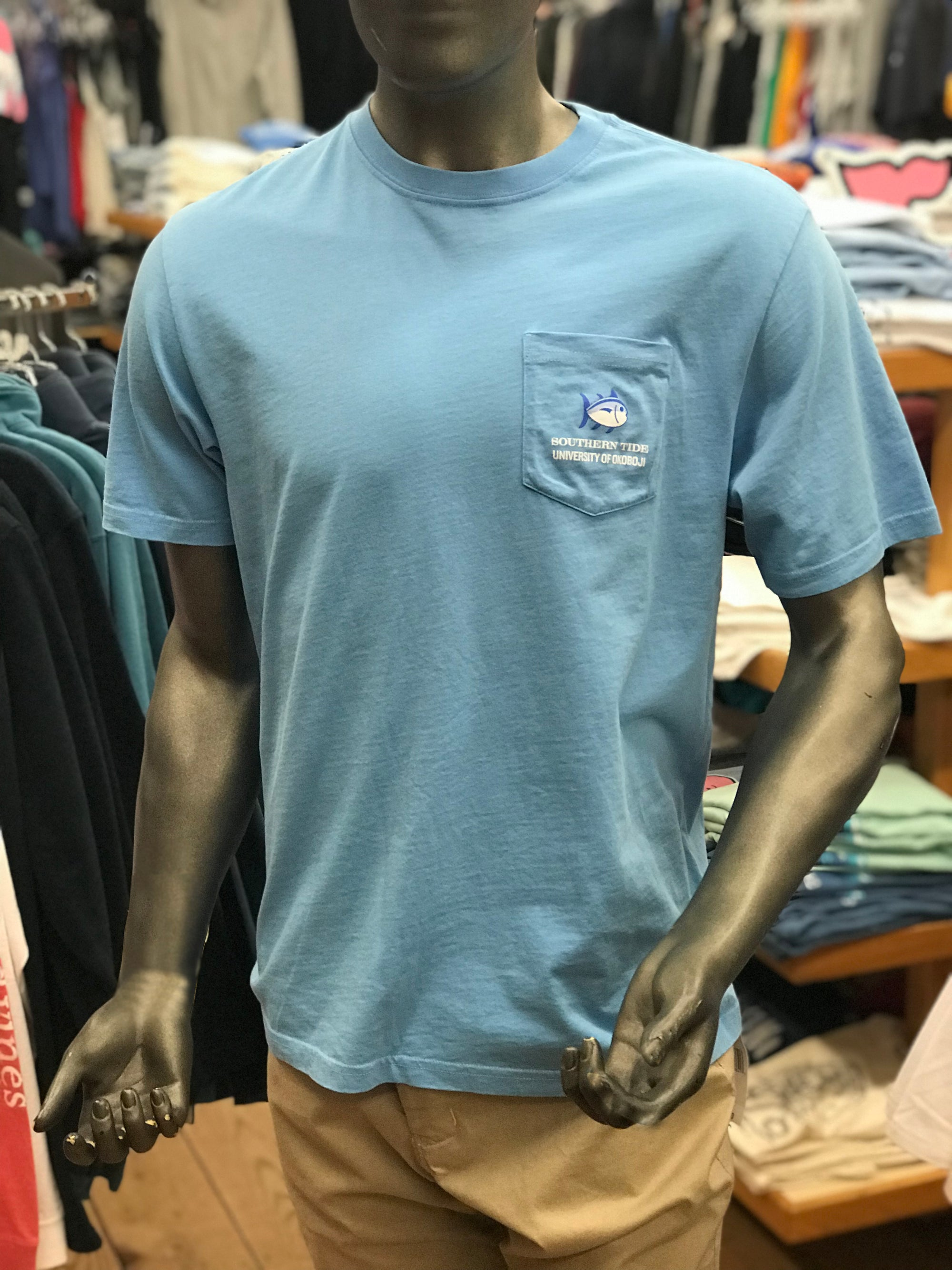 "U of O Southern Tide ""The Skipjack"" Short Sleeve Shirt in Ocean"