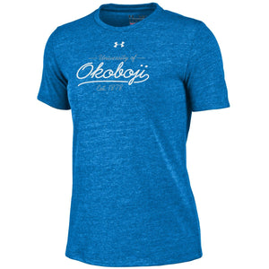 Women's Under Armour HeatGear® Tee Heathered Powder Keg Blue