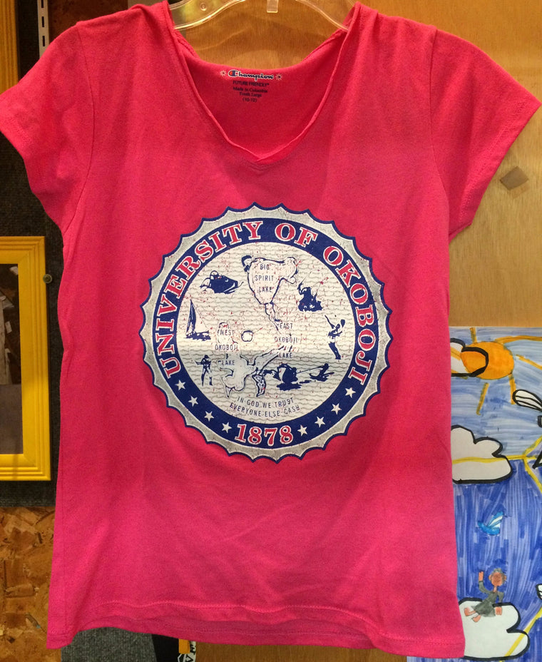 Girls University of Okoboji Crest Tee