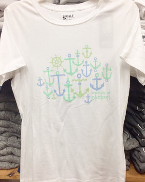 Ladies White Anchor Tee