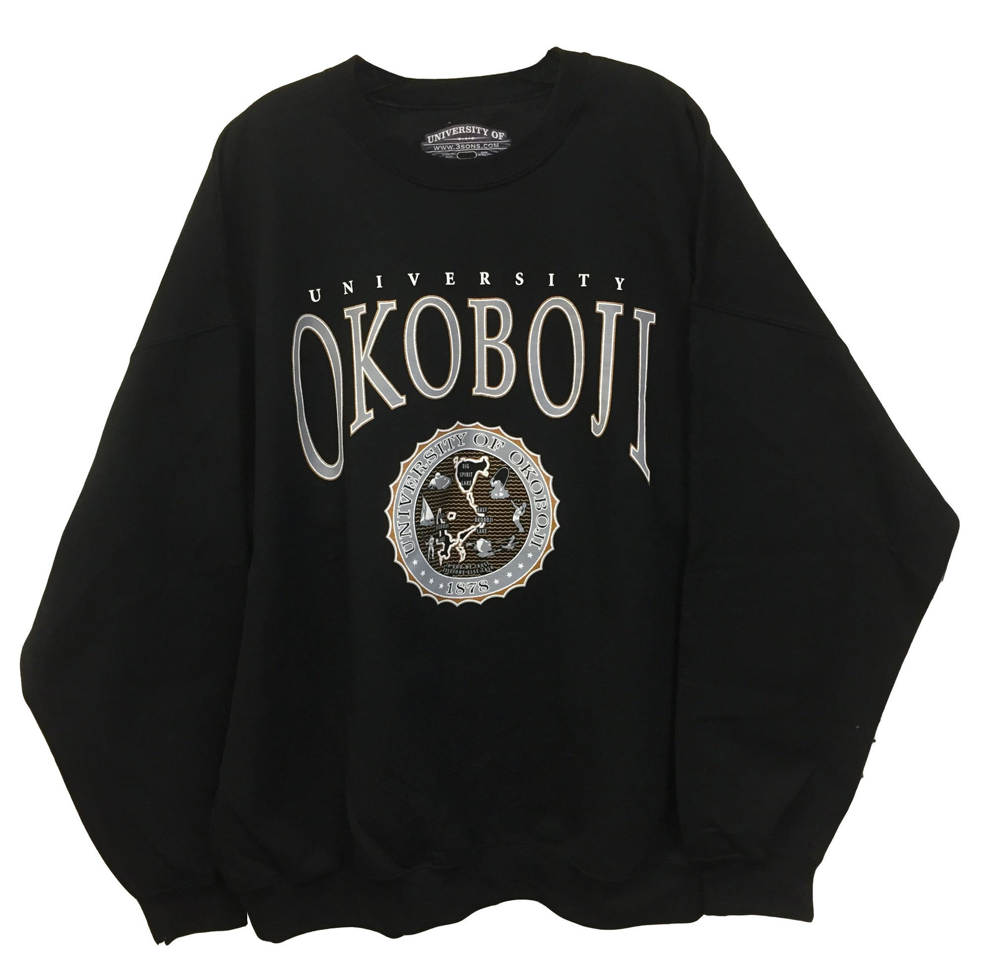 Classic University of Okoboji Black Crewneck Sweatshirt