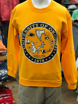Athletic Gold U of O Crest Crew Sweatshirt