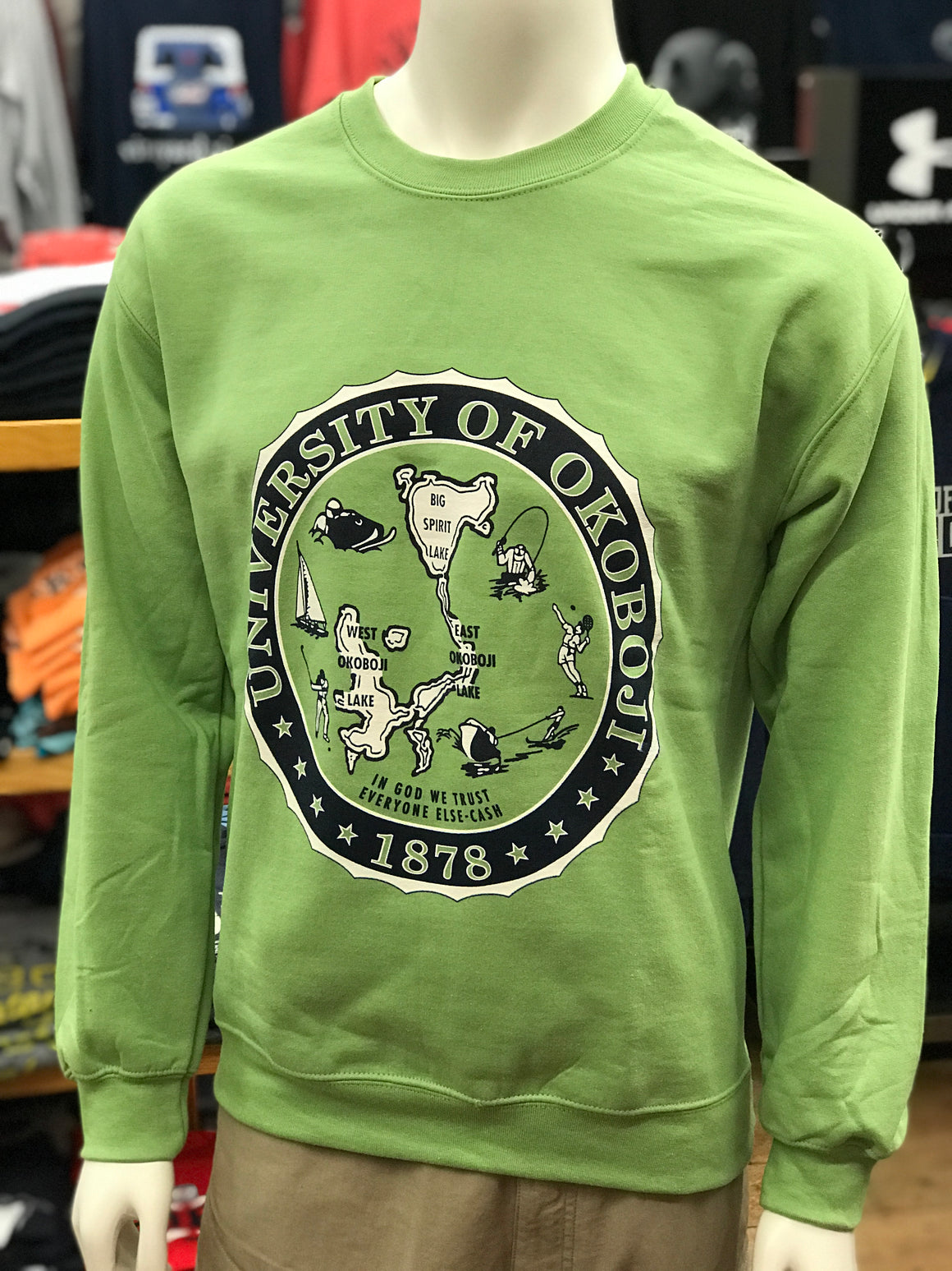 Citrus Green U of O Crest Crew Sweatshirt