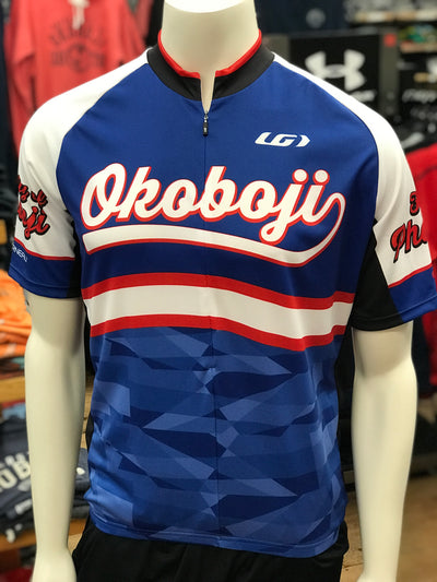 University of Okoboji Men's Cycling Sport Tour Jersey-Red, White & Blue