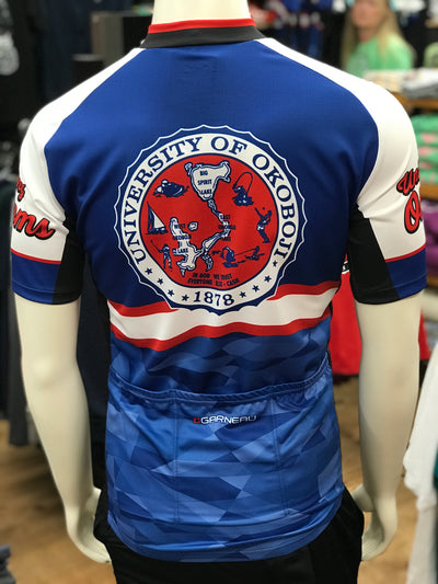 University of Okoboji Men's Tour Cycling Jersey-Red, White & Blue