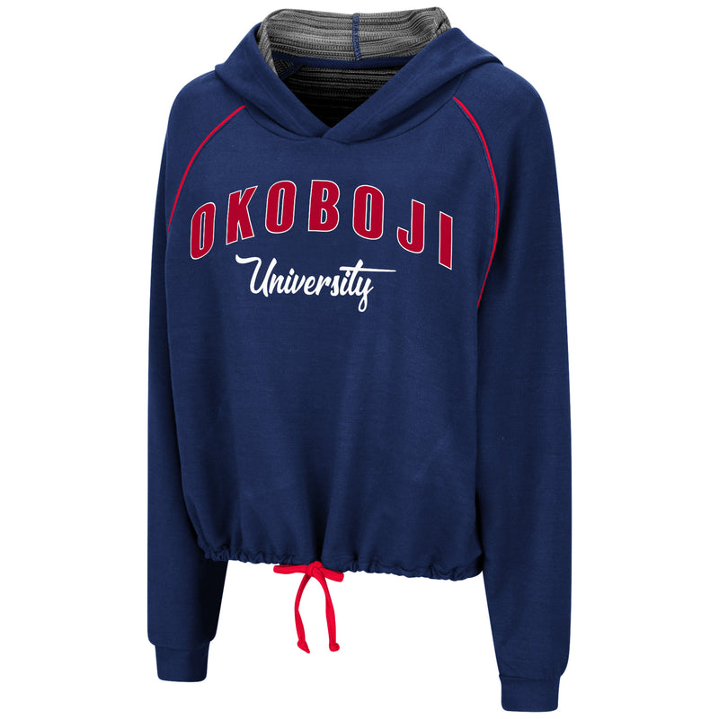 Ladies Tie-Front Okoboji University Hoodie