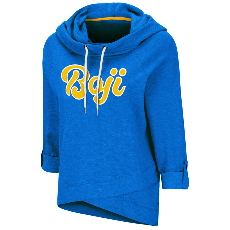 Boji Blue Ladies Roll Up Sleeve Hoodie