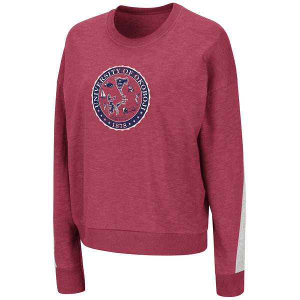 Ladies French Terry Red and Navy Crest Crew