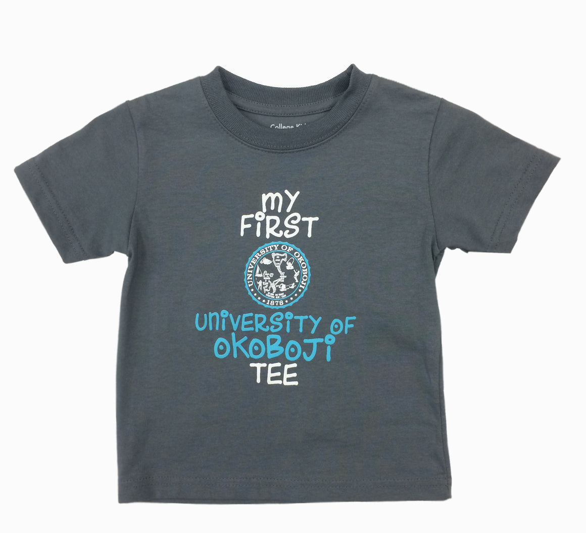 """My First University of Okoboji Tee"" - Pewter Gray"