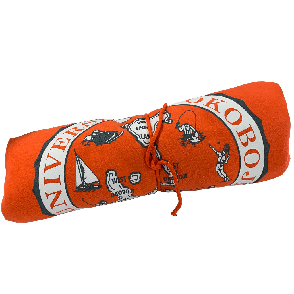 Orange with Grey & White - Okoboji Sweatshirt Blanket