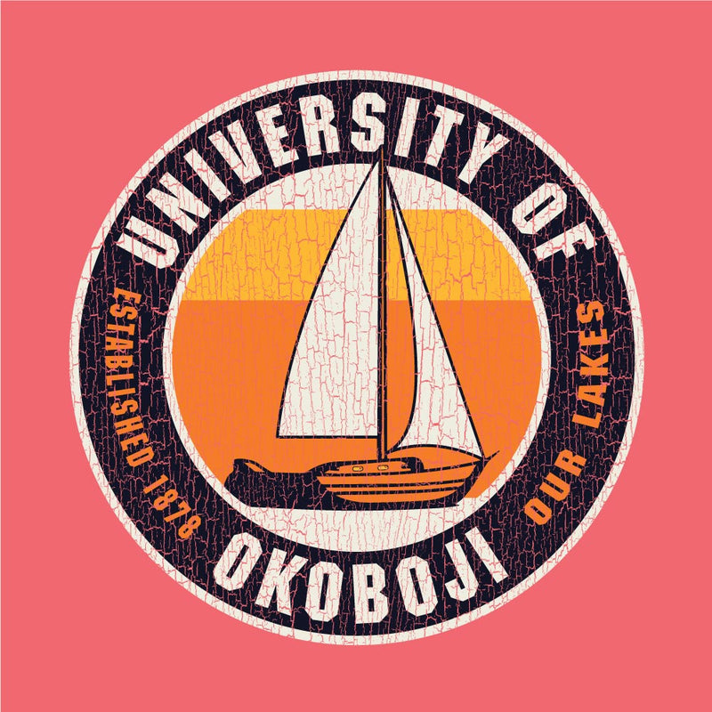 Our Lakes Okoboji Garment Dyed Short Sleeve Tee - Coral Craze