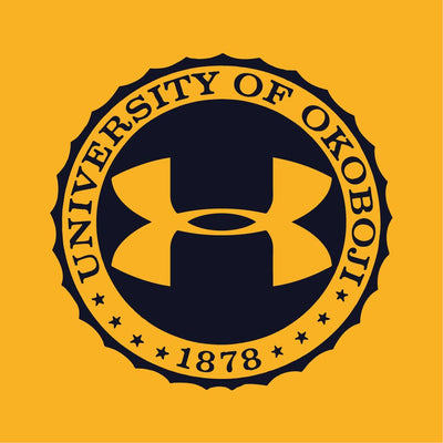 Ladies University of Okoboji Collide Triblend Tee - Steeltown Gold / True Grey Heather