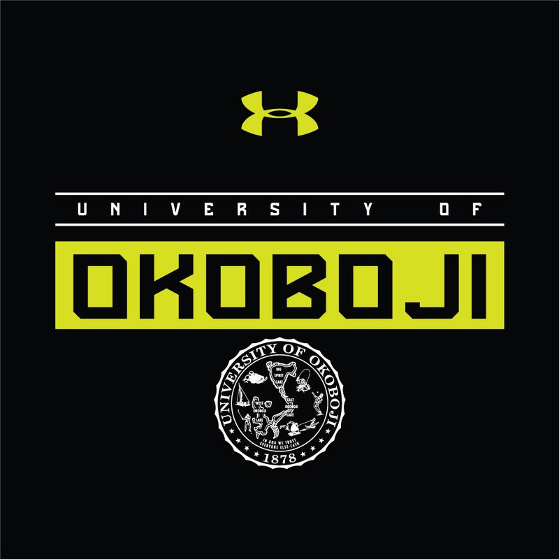University of Okoboji Boys Novelty Tech Tee - Black with Fluorescent Yellow