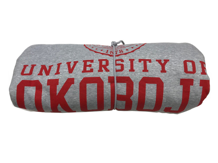 The U of O Gray Sweatshirt Blanket (Red Lettering)