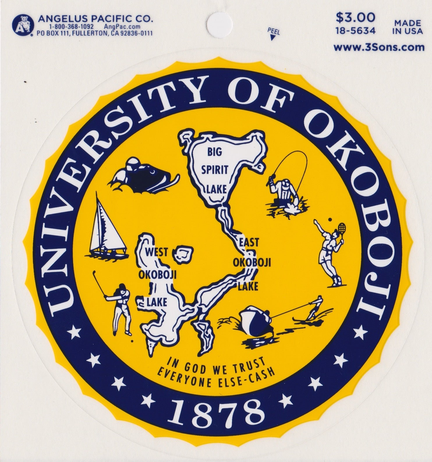 University of Okoboji Crest Sticker - Classic