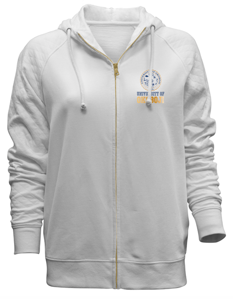 Women's White Full-Zip Hoodie w/ Gold Crest