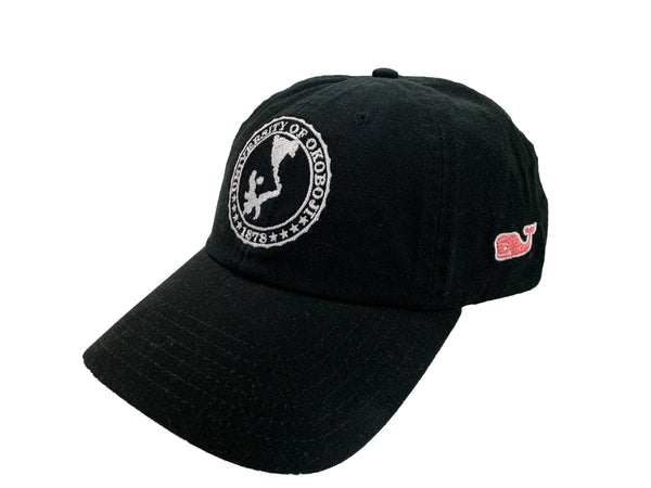 Vineyard Vines® Black Okoboji Cap ‎With Crest (Pink Whale)