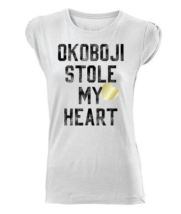 """Okoboji Stole My Heart"" White Rolled Sleeves Tee"