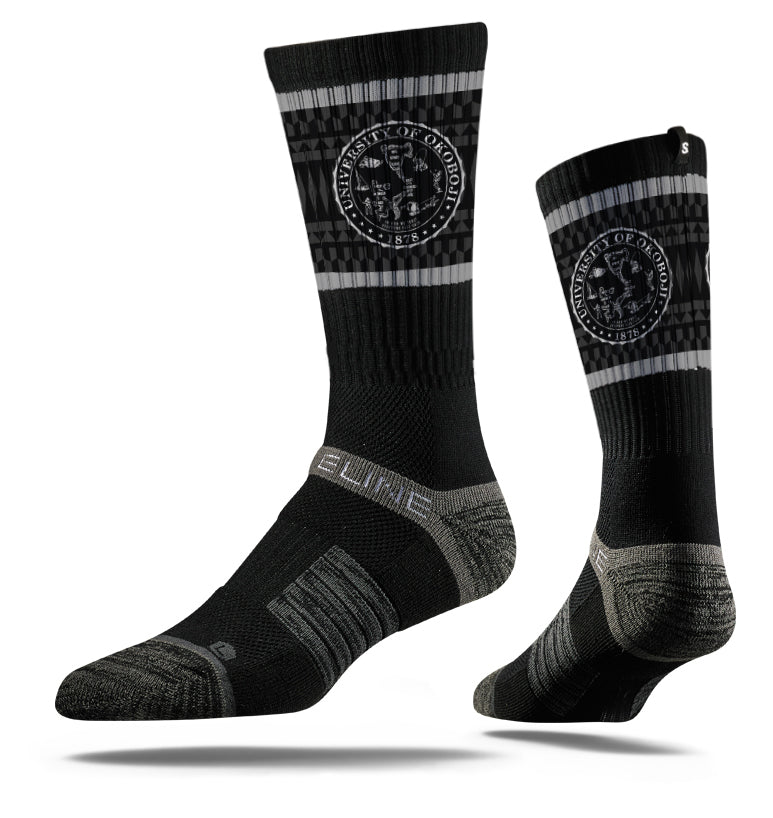University of Okoboji Crest Socks - Black