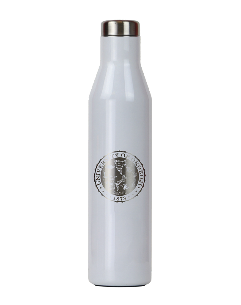 THE ASPEN - U OF OKOBOJI - INSULATED STAINLESS STEEL WATER & WINE BOTTLE - 25 OZ - WHITE PERAL