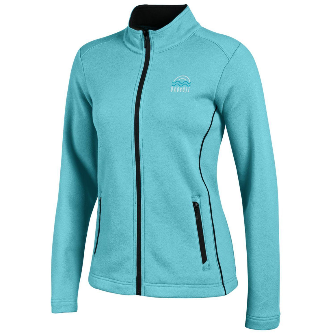 Ladies Deluxe Touch Full Zip-Turquoise Tint