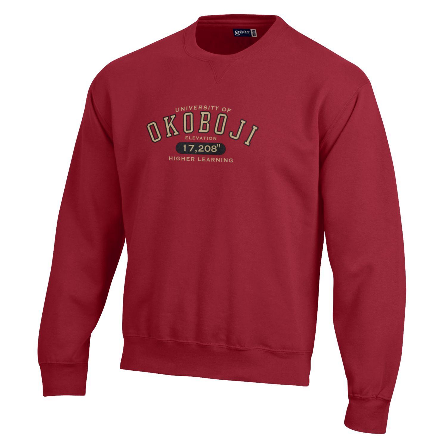Okoboji Elevation BIG Cotton Crew- Cardinal