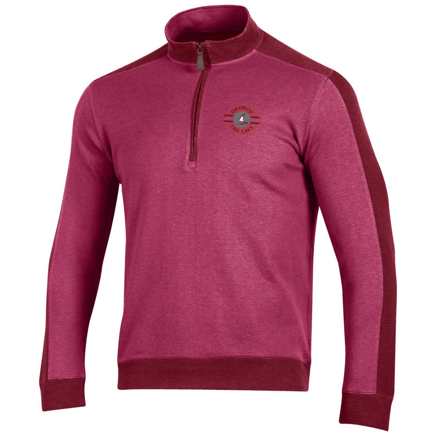 Okoboji Commander 1/4 Zip - Cedar/Weathered Cardinal