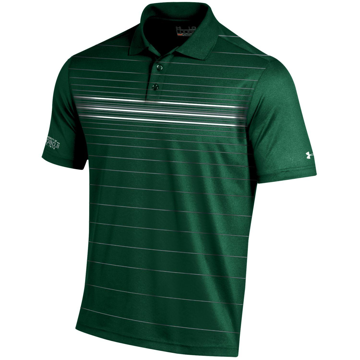 Men's Under Armour Golf Coldblack® Stripe Polo - Forest Green