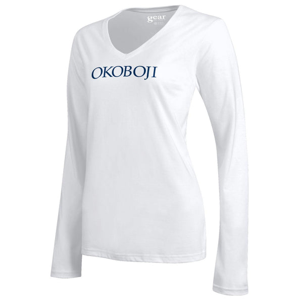 University of Okoboji Ladies V-Neck Long Sleeve Campus Tee