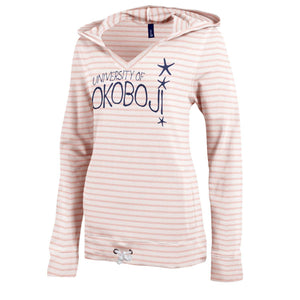 University of Okoboji Women's V-Neck Hoodie - Coral Stripe