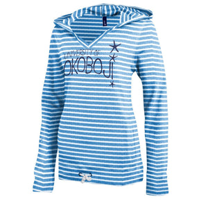 University of Okoboji Women's V-Neck Hoodie - Blue Stripe