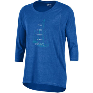 """This is My Happy Place"" Women's Tri-blend 3/4 Sleeve Tee - Royal Blue"