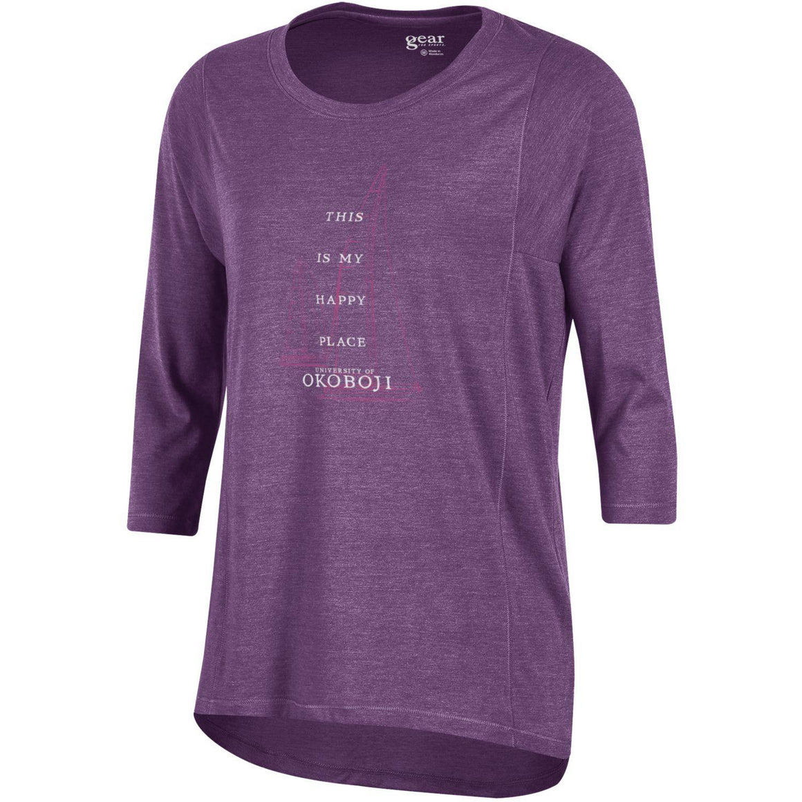 """This is My Happy Place"" Women's Tri-blend 3/4 Sleeve Tee - Violet"